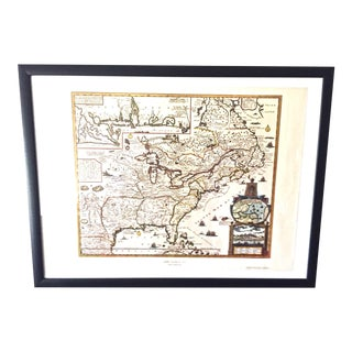 "1950s Vintage ""New France 1745"" Early American Map"