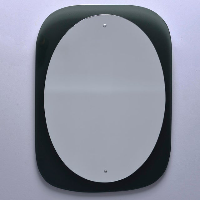 Cristal Art Oval Mirror With Black Glass Base For Sale - Image 9 of 11
