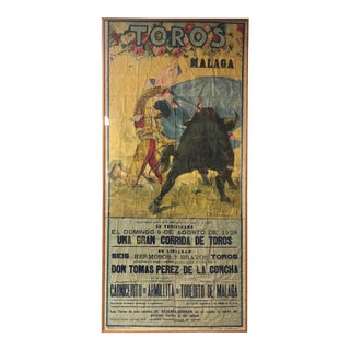 1928 Hand Painted Bull Fight Poster For Sale