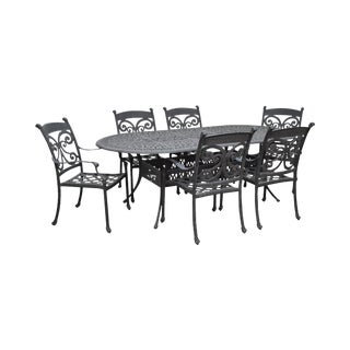 Cast Aluminum Patio Dining Table & 6 Chair Set For Sale