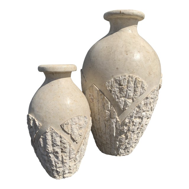 Tessellated Mactan Stone Floor Vases - A Pair For Sale