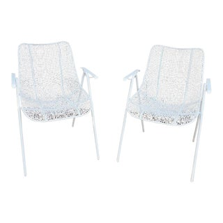 Russell Woodard Mid-Century White Wrought Iron Sculptura Arm Chairs - a Pair For Sale