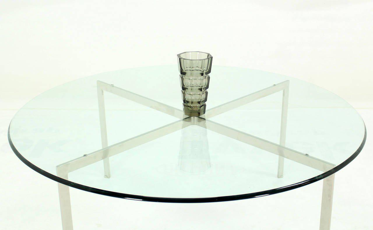 Mid Century Modern Chrome X Base Thick Round Glass Top Coffee Table   Image  9