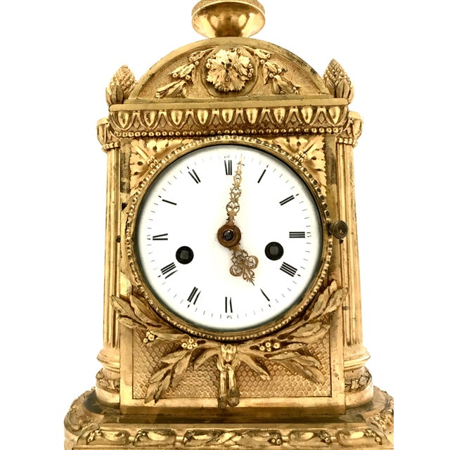 French 1776 Antique French Bronze Mantel Clock For Sale - Image 3 of 10