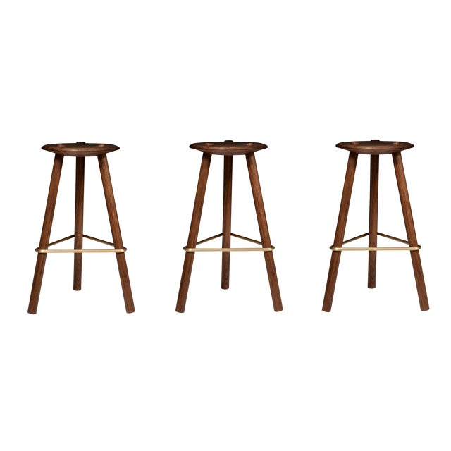 Customizable Erickson Aesthetics Set of Three Walnut Stools For Sale