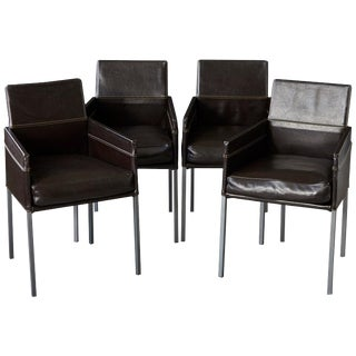Set of 4 Modern Brown Leather Dining Armchairs by Karl Friedrich Förster Germany For Sale