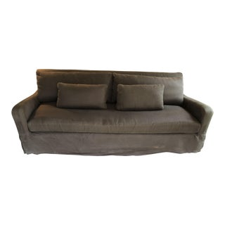 Contemporary Belgian Charcoal Linen Slipcovered Slope Arm Sofa