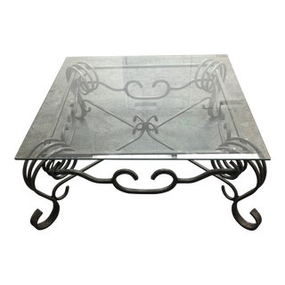 Ornate Iron Base With Glass Top Coffee Table