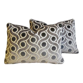 "Designer Osborne & Little Cut Velvet Feather/Down Pillows 22"" X 16"" - Pair For Sale"