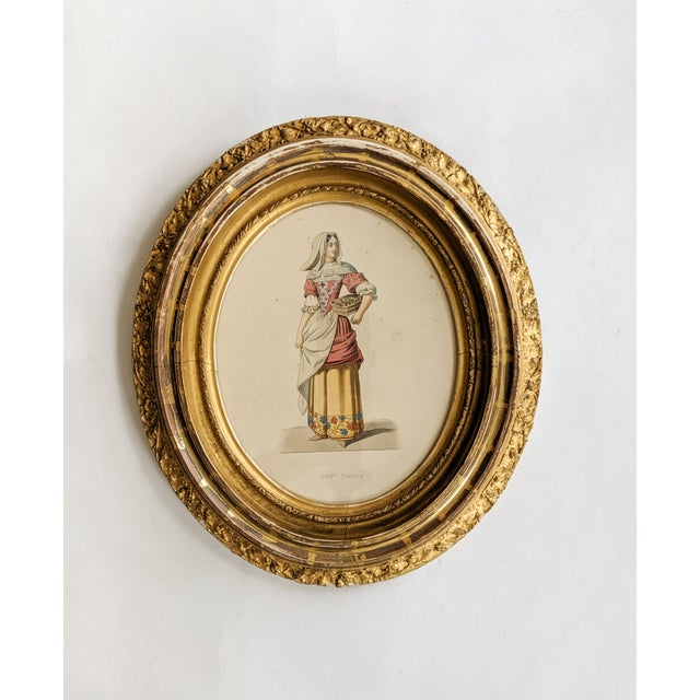 Antique Print Portrait of a 17th Century French Woman With Glorious Gold Oval Frame For Sale - Image 4 of 4
