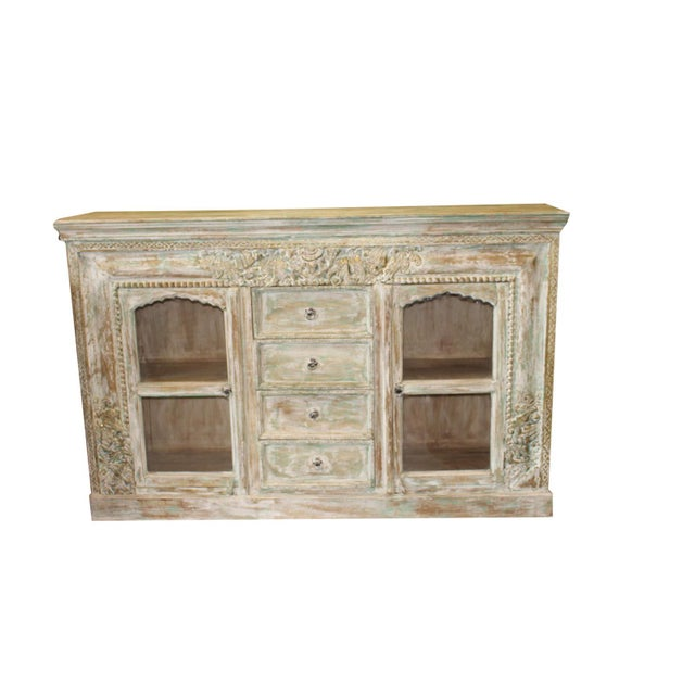 Teak Vintage Credenza Vintage Style Chest Buffet Ivory Green Carved Brass Inlay Sideboard For Sale - Image 7 of 7