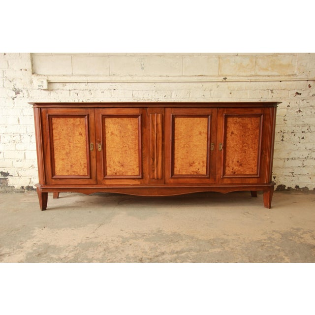 1940s Vintage French Burled and Inlaid Maple Sideboard For Sale - Image 5 of 11