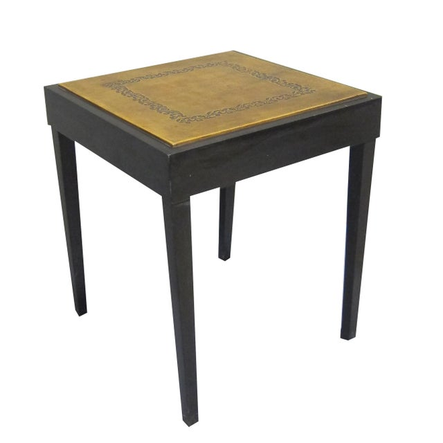 Vintage Sarreid LTD Square Leather Top Side Table - Image 3 of 5