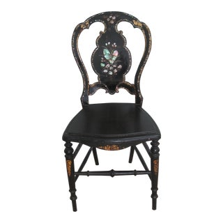 Mid 19th C. Victorian Mother of Pearl Inlay Papier Mache Chair For Sale