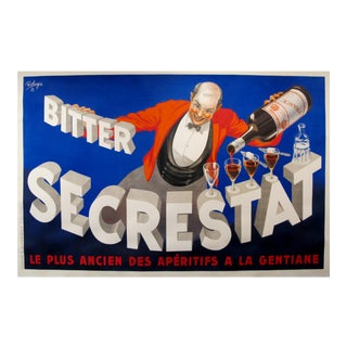 1935 Vintage French Horizontal Art Deco Liquor Poster, Bitter Secrestat For Sale