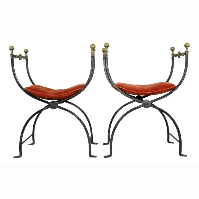 Italian Wrought Iron and Bronze Curule Chairs - a Pair For Sale - Image 10 of 11