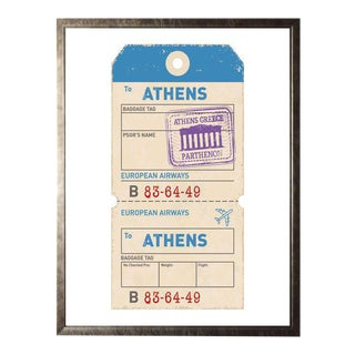 Athens Travel Ticket Print in Pewter Shadowbox For Sale