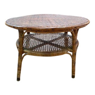 Early Bamboo, Rattan and Caned Round Side Table With 2nd Shelf For Sale