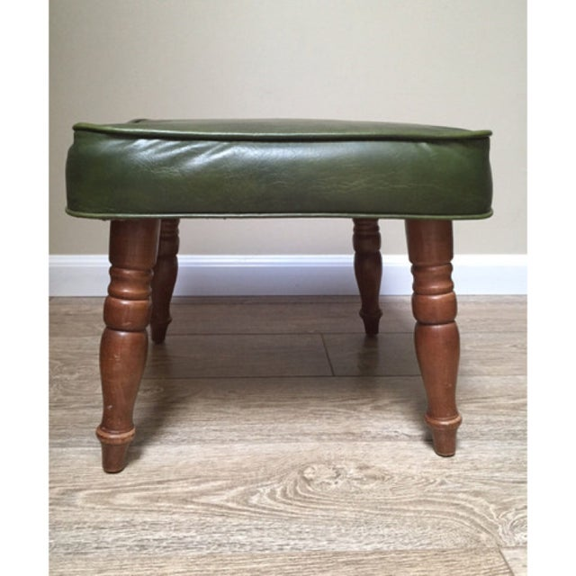 Vintage Green Vinyl Foot Stool - Image 6 of 6