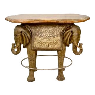 20th Century Asian Style Exotic Elephant Bar Table For Sale