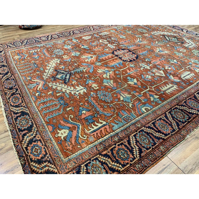 Red Antique Persian Sarapi Rug For Sale - Image 8 of 12