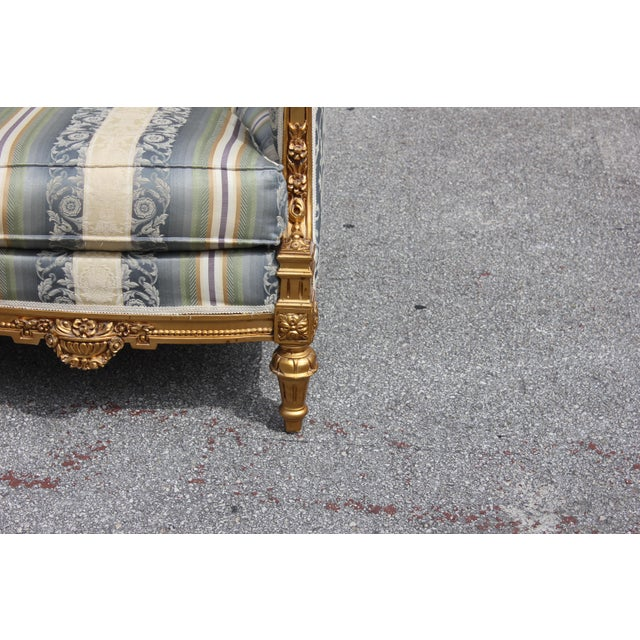 Fabric 1940s Vintage French Louis XVI Style Giltwood Loveseat For Sale - Image 7 of 13