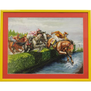 """1960s Classic Steeplechase """"The Water Jump"""" Painting For Sale"""