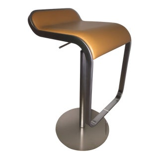 La Palma Lem Piston High Stool With Leather Seat For Sale