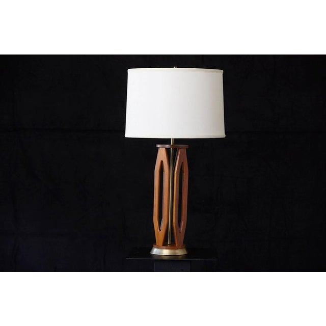 Geometric Teak Table Lamp with Brass Base For Sale In New York - Image 6 of 10