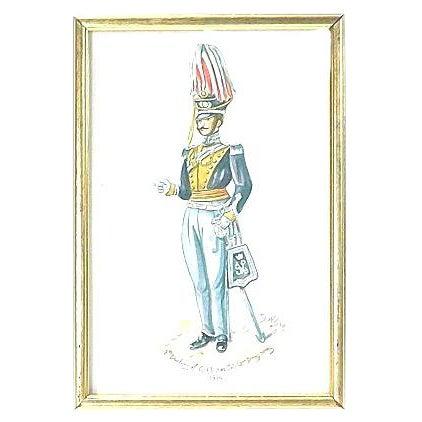 D. Wilson Antique 19th Century Soldier Watercolor For Sale