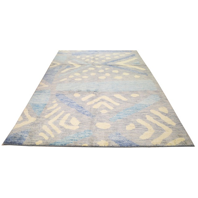 Moroccan Azilal hand knotted rug with natural colors, contemporary style and soft texture.