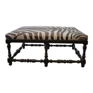 Custom Zebra Print Upholstered Hide Cocktail Ottoman