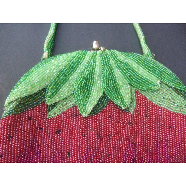 Glass Beaded Strawberry Evening Bag For Sale - Image 4 of 10