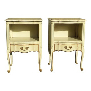 Pair of Vintage French Provincial Yellow Creme Nightstands ~ Finish As-Is For Sale