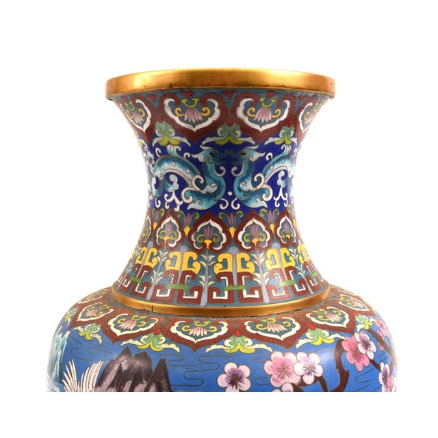 Large Decorative Cloisonné With Blossom Flowers Vase For Sale In New York - Image 6 of 13