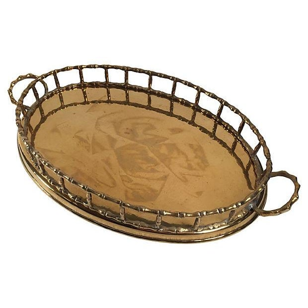 Oval Brass Bamboo Rail Tray - Image 2 of 4