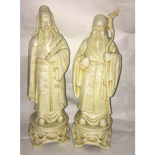 Vintage Chinese Old Scholars Figures - a Pair For Sale - Image 11 of 13