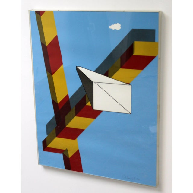 For your consideration is a red, yellow and blue, geometrical abstract serigraph print by Allan D'Arcangelo, signed, dated...