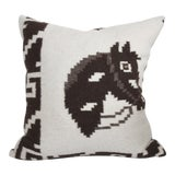 Image of Hand Woven Wool Horse Pillow For Sale