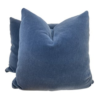 "Beacon Hill ""Plush Mohair"" in Moon Blue 22"" Pillows-A Pair For Sale"