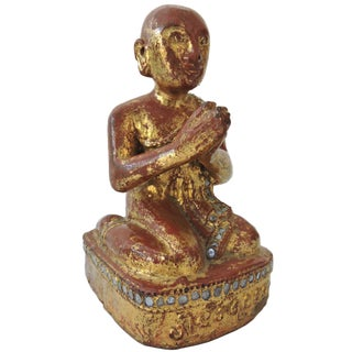 Early 20th Century Antique Gilt Wood Burmese Monk Statue For Sale