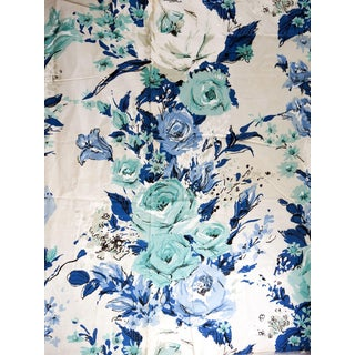 Mid Century HexterBlue & Turquoise Floral Mart Sample Fabric For Sale
