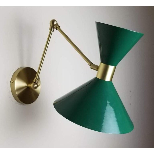 Large Scale Monarch Wall Mount Lamp in Brass, Emerald Green, Blueprint Lighting For Sale In New York - Image 6 of 9