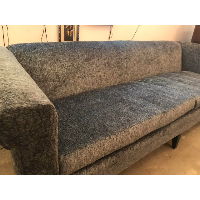 Mid-Century Modern 1940's Mid-Century Modern Restored, Silvery Dusty-Blue Chenille Sofa For Sale - Image 3 of 12