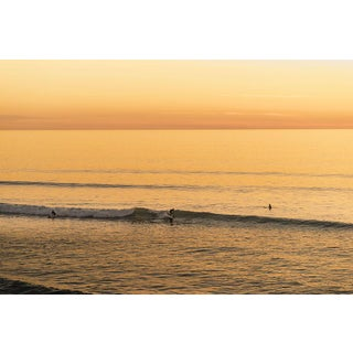 SoCal Surfer Ocean Sunrise Golden Yellow Photograph For Sale