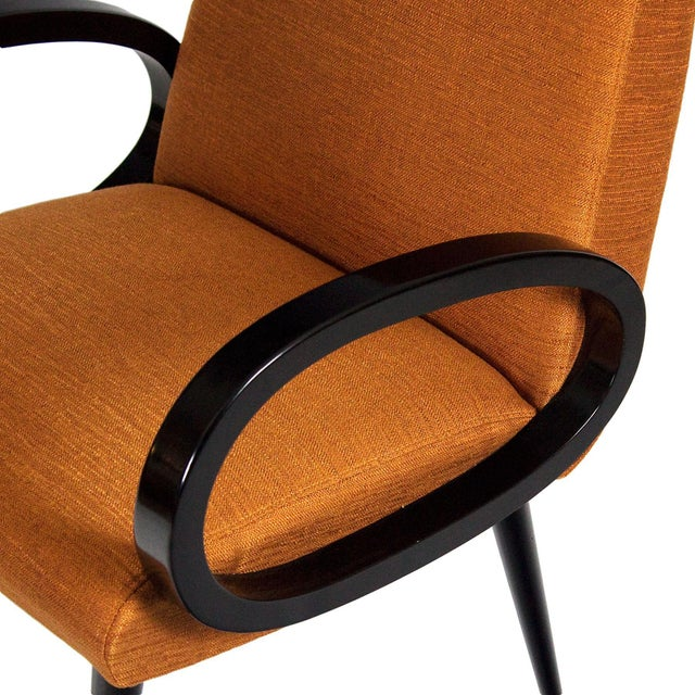 Black 1950s Pair of Bridge Armchairs, Oval Arms, Stained Beech, Fibreguard, France For Sale - Image 8 of 9