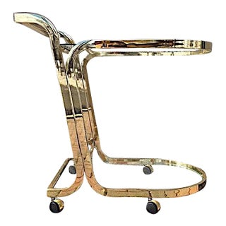 Brass & Glass Rolling Bar Cart