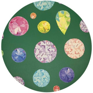 "Nicolette Mayer Jewel Green 16"" Round Pebble Placemats For Sale"