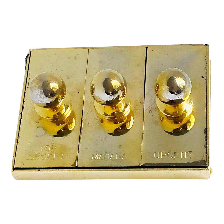 Vintage Mini Stamps Station Top Secret Urgent Manana Gold Desk Accessories Chairish