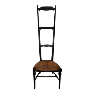 1960s Italian Black Lacquered High Ladder Back Chair For Sale